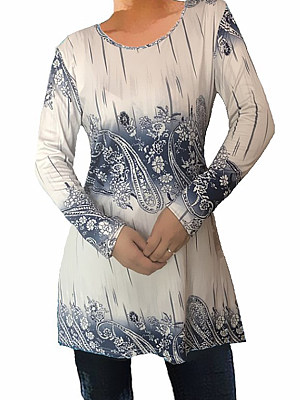 Round Neck Patchwork Casual Printed Long Sleeve T-Shirts, 8052025