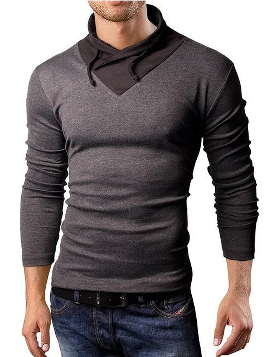 BerryLook Men Color Block Band Collar T-Shirt