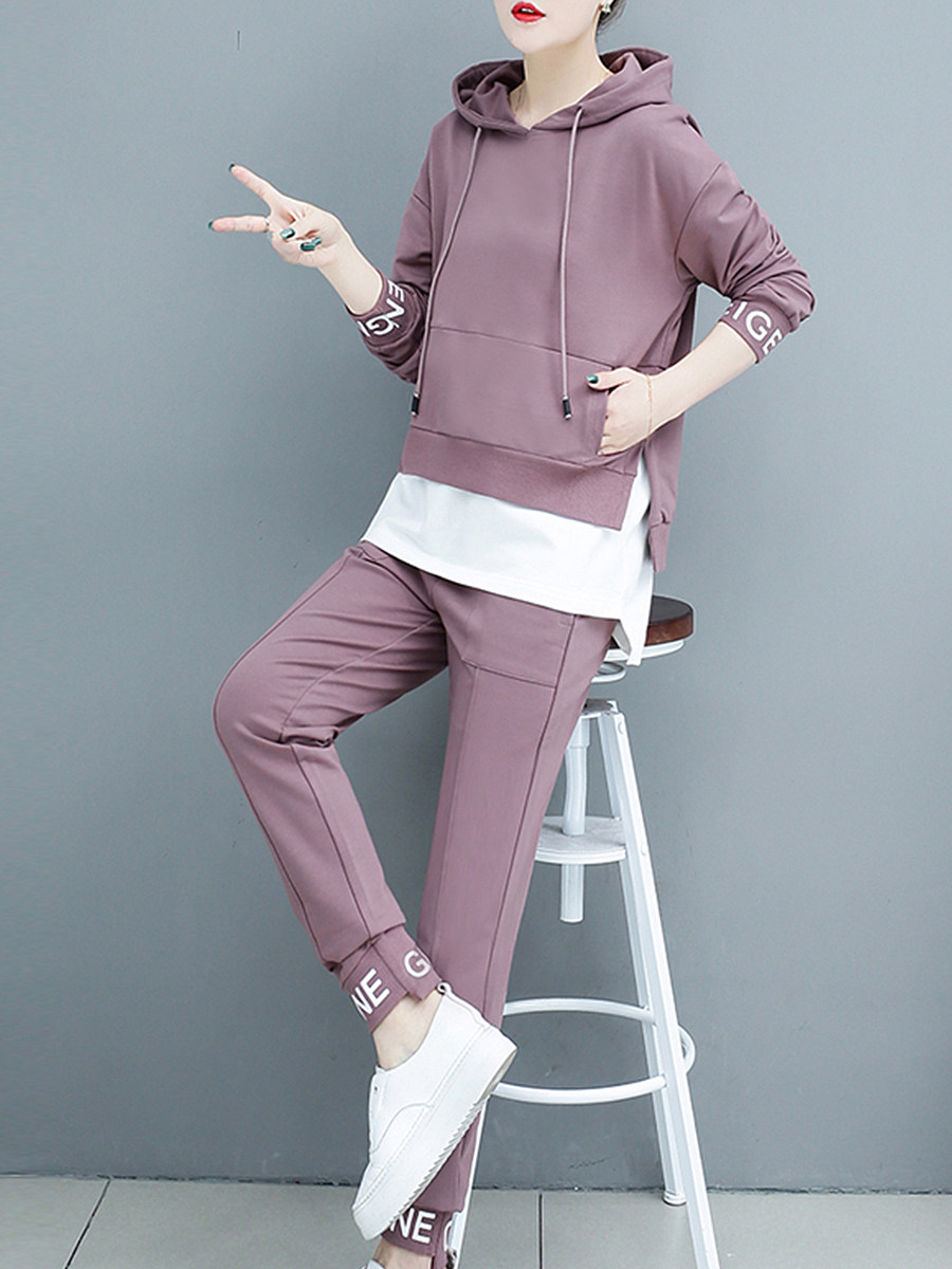 BerryLook Brief  Fake Two-Piece  Printed  Long Sleeve Hoodie Suit