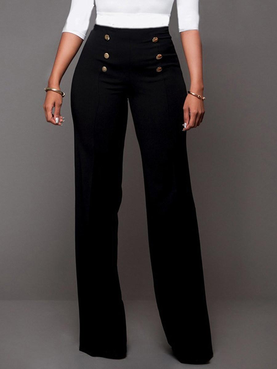Plain Decorative Button Wide-Leg High-Rise Casual Pants