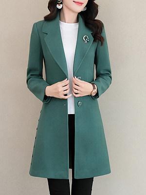 Notch Lapel Plain Single Breasted Coat, 9548861