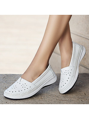 Plain Low Heeled Round Toe Casual Outdoor Sneakers