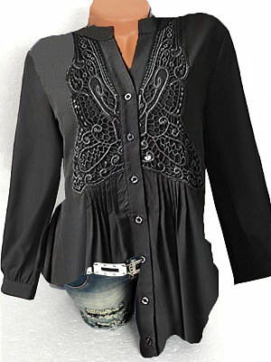 V Neck Patchwork Elegant Lace Long Sleeve Blouse, 8358083