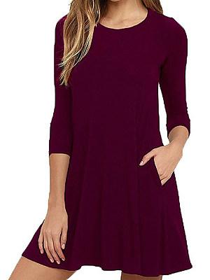 Round Neck Patch Pocket Plain Shift Dress, 8263523