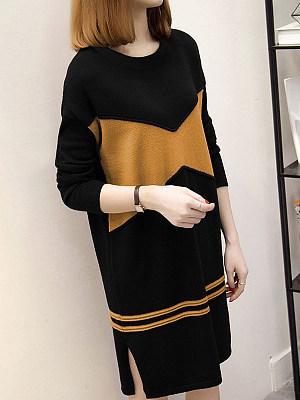 Round Neck Patchwork Side Slit Color Block Knit Shift Dress фото