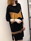 Round Neck Patchwork Side Slit Color Block Knit Shift Dress - $19.95