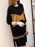 Round Neck Patchwork Side Slit Color Block Knit Shift Dress - $19.95