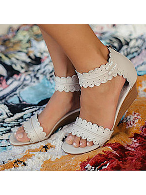 Plain Peep Toe Casual Date Wedge Sandals, 8059998