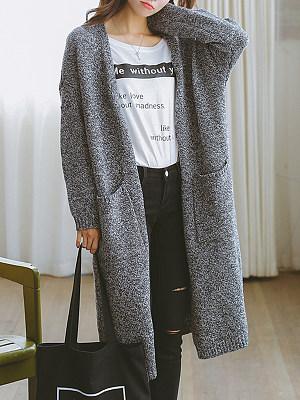 Collarless Slit Pocket Plain Coats