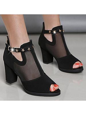 Plain  Chunky  High Heeled  Mesh Velvet  Ankle Strap  Peep Toe  Date Outdoor Peep-Toe Heels
