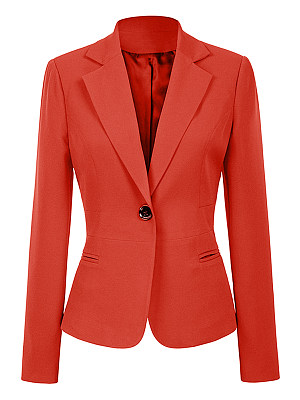 Notch Lapel Slit Pocket Plain Blazer