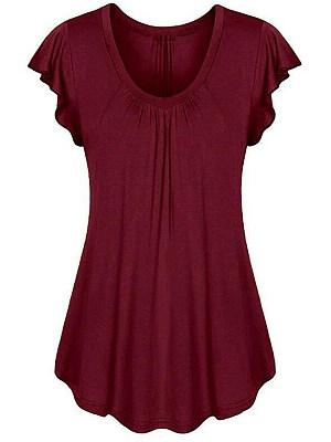Berrylook coupon: Round Neck  Plain Short Sleeve T-Shirts