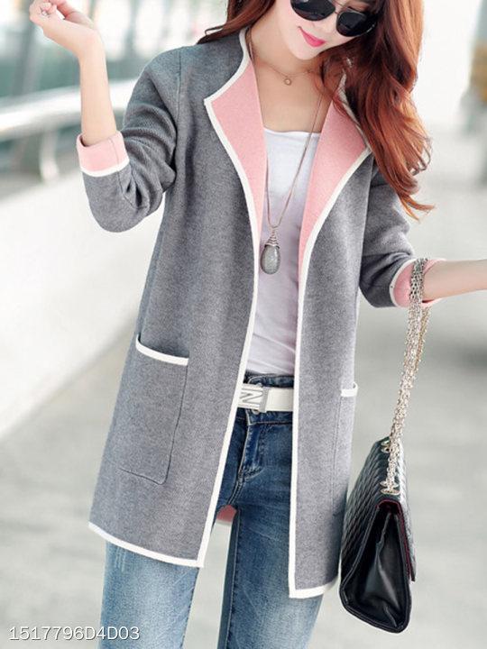collarless patch pocket plain cardigan