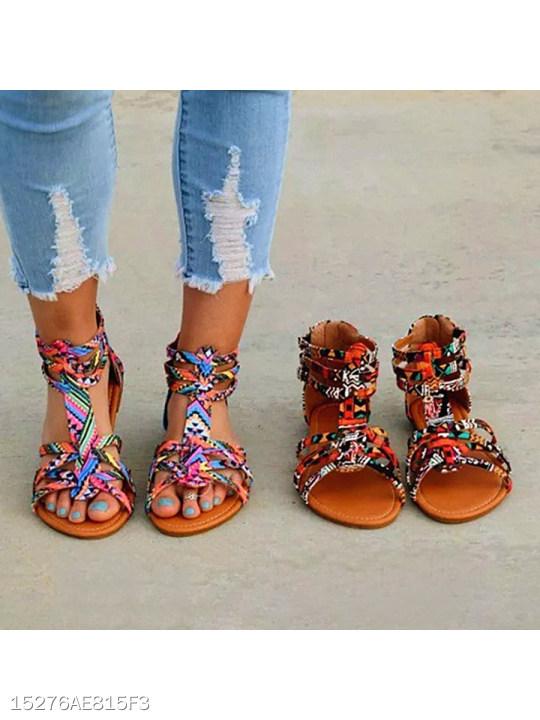 f8e89669c8e Floral Flat Ankle Strap Peep Toe Casual Gladiator Sandals - berrylook.com
