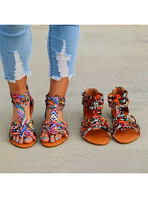 4bde76ef35a9a Floral Flat Ankle Strap Peep Toe Casual Gladiator Sandals
