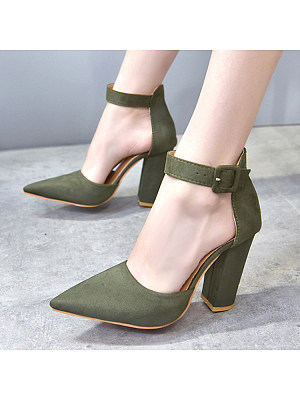 Plain  High Heeled  Velvet  Ankle Strap  Point Toe  Date Pumps