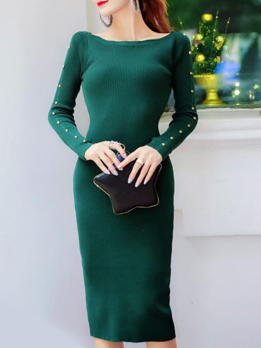 Round Neck  Beading  Plain Bodycon Dress