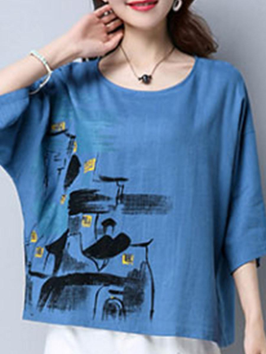 Round Neck  Abstract Print Short Sleeve T-Shirts