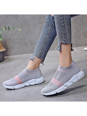 Color Block Flat Round Toe Casual Sneakers, 6999721