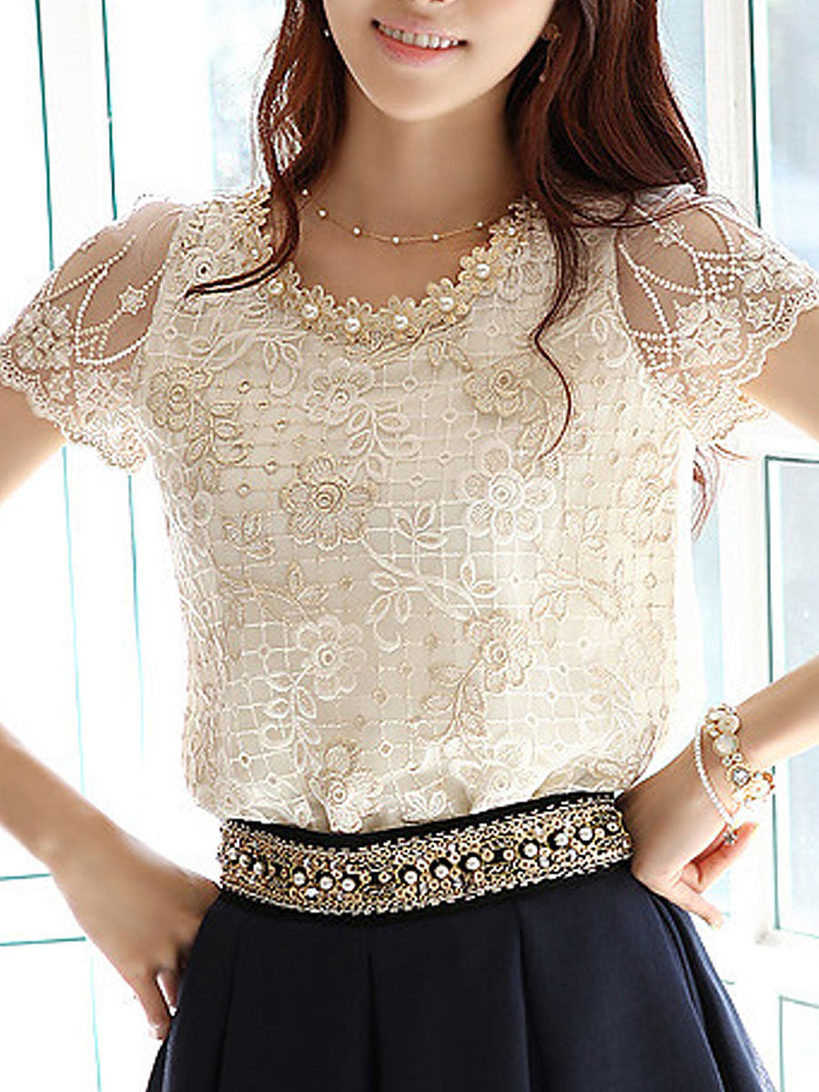 BerryLook Spring Summer  Lace  Women  Round Neck  Decorative Lace  Lace  Short Sleeve Blouses