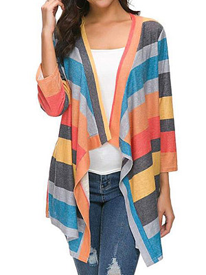 Patchwork  Casual  Color Block Striped  Long Sleeve  Cardigan