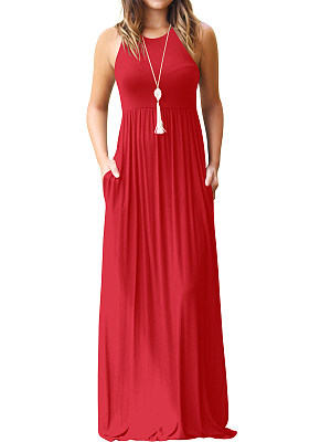 Round Neck Plain Maxi Dress фото