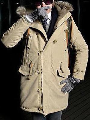 Men Hooded Flap Pocket Fleece Lined Coat фото