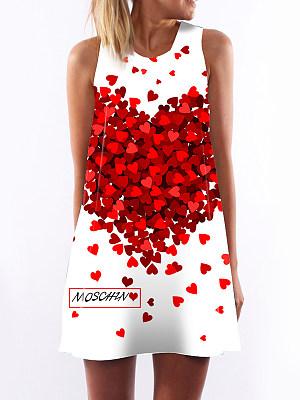 Round Neck Print Shift Dress, 4704097