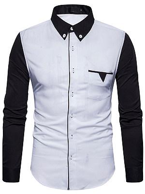 Color Block Button Down Collar Patch Pocket Men Shirts