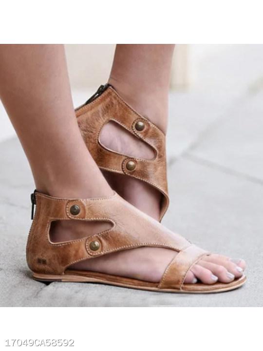 Socofy Plain Flat Ankle Strap Peep Toe Casual Gladiator