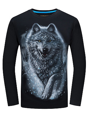 Crew Neck Men 3D Wolf Printed T-Shirt фото