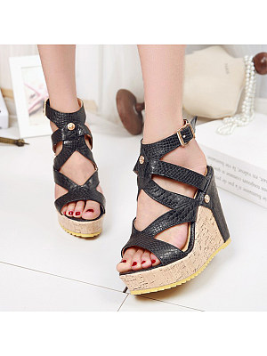 Plain High Heeled Peep Toe Wedge Sandals