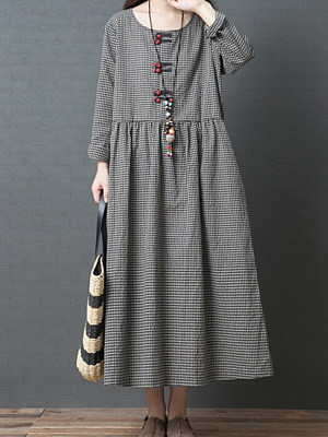 Round Neck Patch Pocket Houndstooth Maxi Dress, 5091420