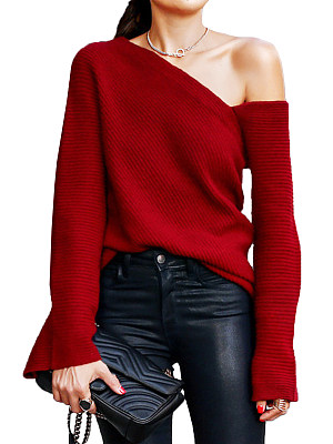 Single Shoulder Collar  Patchwork  Brief  Plain  Bell Sleeve  Long Sleeve  Knit Pullover