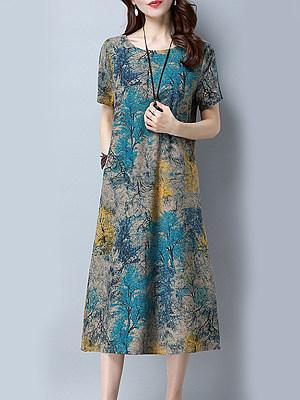 Round Neck Patch Pocket Print Maxi Dress, 5021802