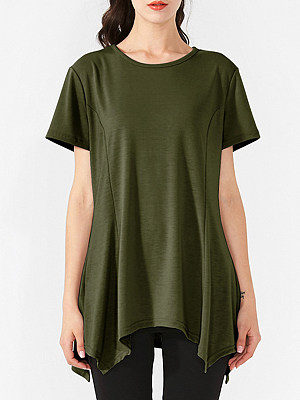 Round Neck Asymmetric Hem Plain Short Sleeve T-Shirts, 6946047