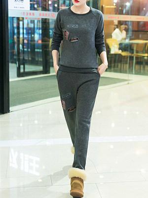 Round Neck Letters Sweatshirt Suit
