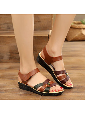 Color Block Peep Toe Casual Flat Sandals, 7476660