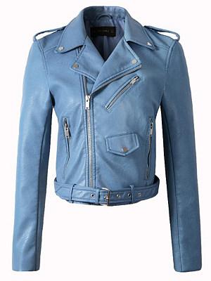 Lapel Zips Belt Belt Loops Decorative Button Plain Long Sleeve Jackets фото