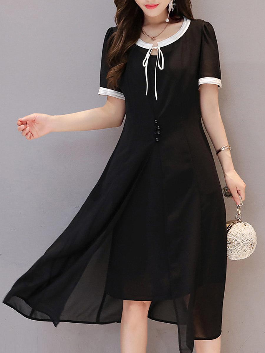 Tie Collar  Contrast Trim  Plain Maxi Dress