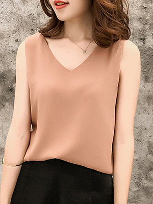 Round Neck Backless Plain Blouses