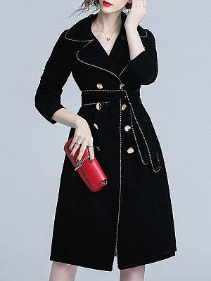 Lapel Contrast Trim Double Breasted Belt Plain Long Sleeve Coats, 5642622, BERRYLOOK  - buy with discount
