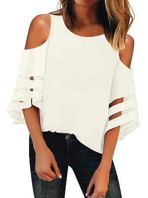 Round Neck Cutout Plain Bell Sleeve Short Sleeve T-Shirts, 6955860