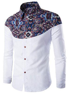 Stylish Printed Turn Down Collar  Men Shirts