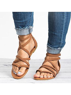 Plain Flat Peep Toe Casual Date Flat Sandals, 6117782