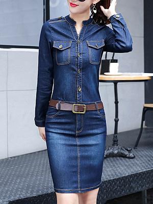 Split Neck Denim Belt Flap Pocket Bodycon Dress