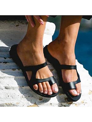 Plain Flat Peep Toe Casual Comfort Slippers