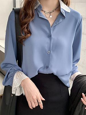 Autumn Spring Cotton Women Turn Down Collar Decorative Lace Plain Long Sleeve Blouses