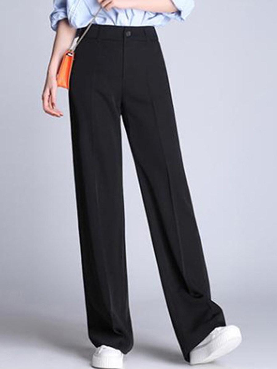 BerryLook Casual Black Pocket Wide-Leg Pants