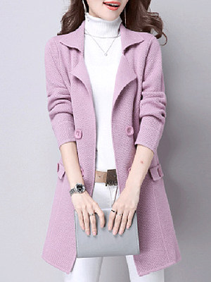 Lapel Decorative Button Plain Long Sleeve Trench Coats фото